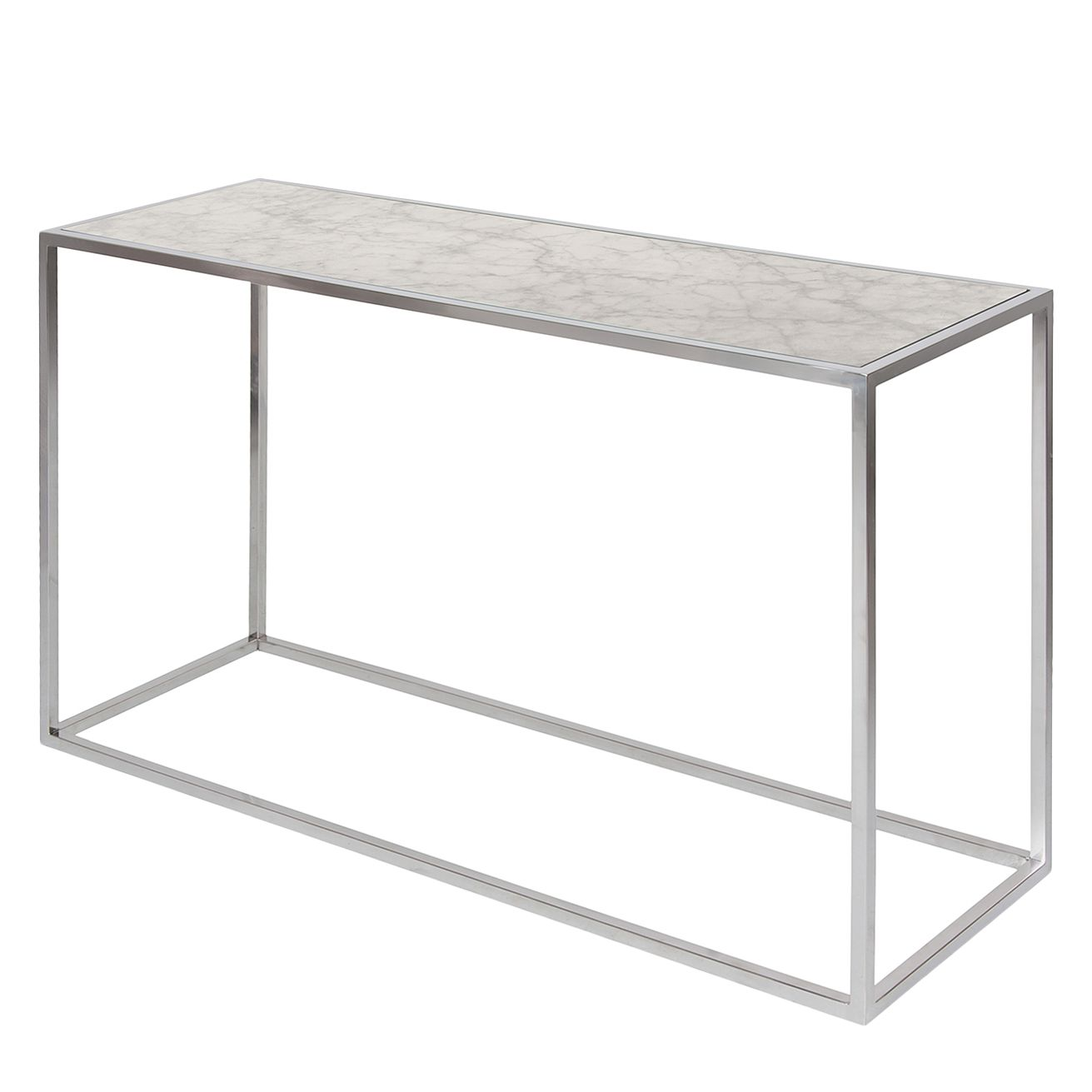 Konsolentisch Jacob - Marmor / Edelstahl - Weiß / Silber