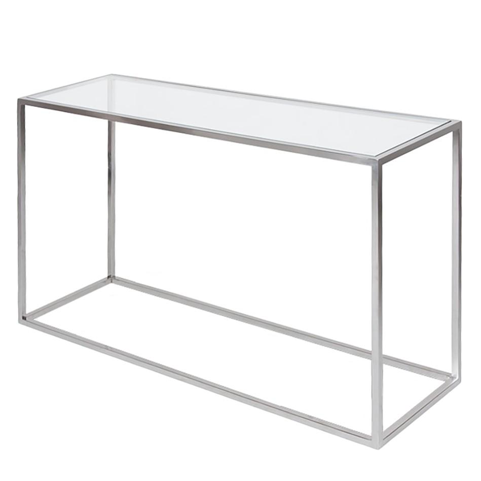 Wandtafel Jacob - glas/roestvrij staal - Zilverkleurig, Fredriks