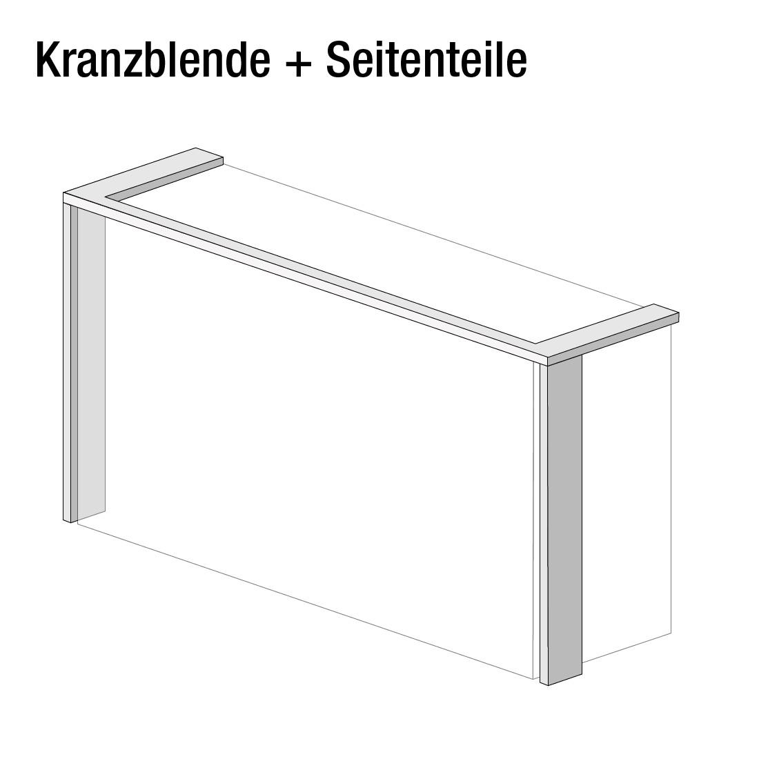 Kranzblende Skøp (mit Seitenteil) - Graphit - 405 cm (3-türig) - 236 cm