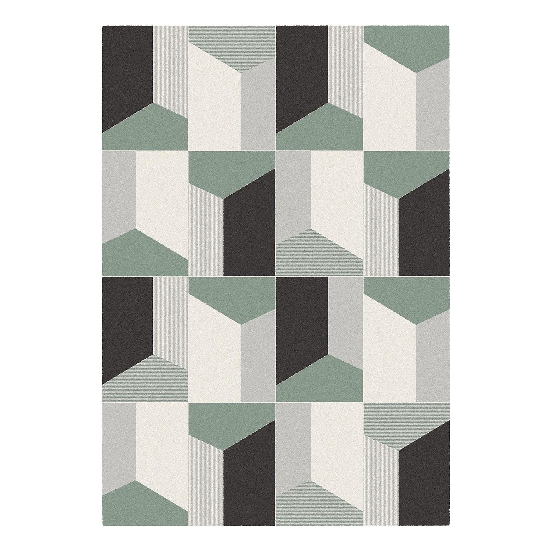Laagpolig vloerkleed Fuchstal - kunstvezels - grijs/muntkleurig - 160x230cm, Studio Copenhagen