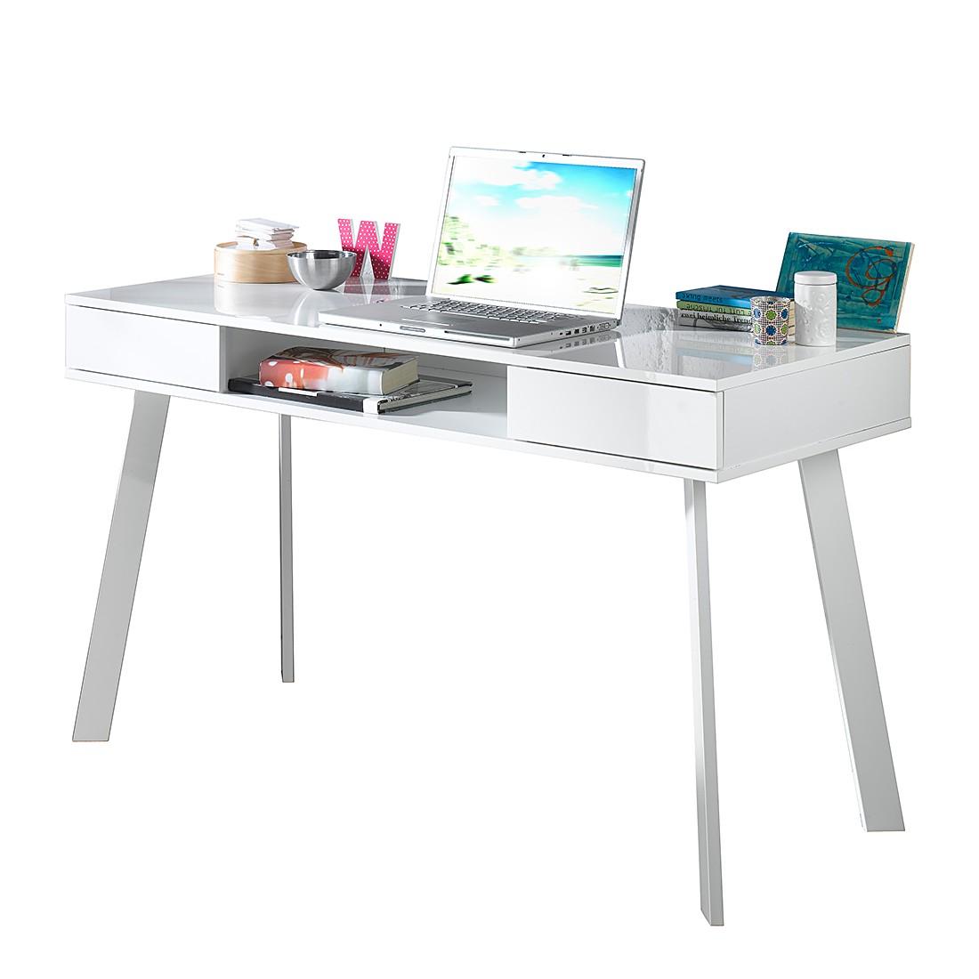 Bureau pour ordinateur portable Tamale - Blanc brillant - Avec 2 tiroirs, Fredriks