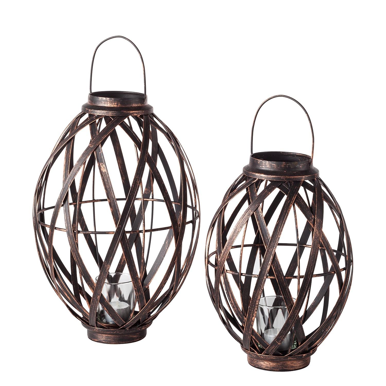 Lantaarns Merlimont (2-delig) - staal - zwart/koperkleurig, ars manufacti
