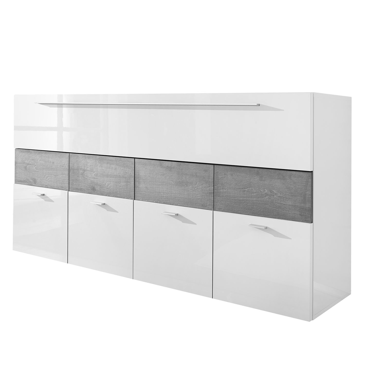sideboard line lc hochglanz wei eiche grau dekor lc mobili g nstig. Black Bedroom Furniture Sets. Home Design Ideas
