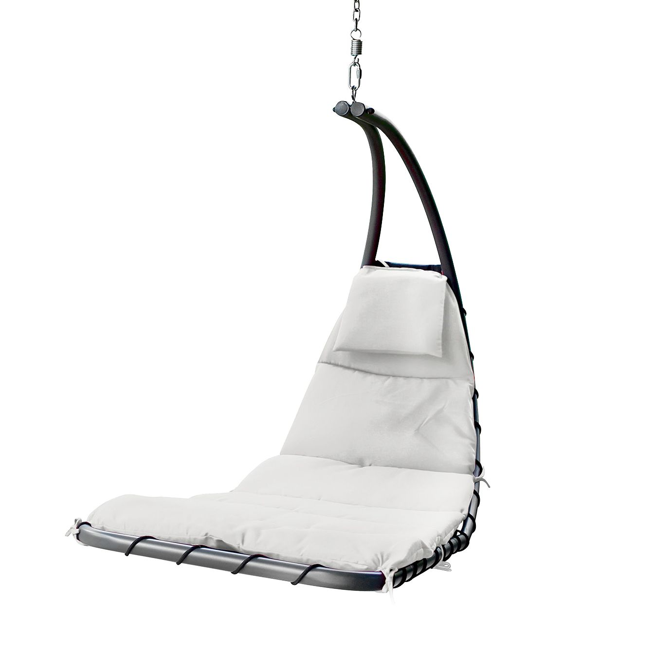 Hangstoel Dream - geweven stof/staal - Kiezelkleurig, Leco