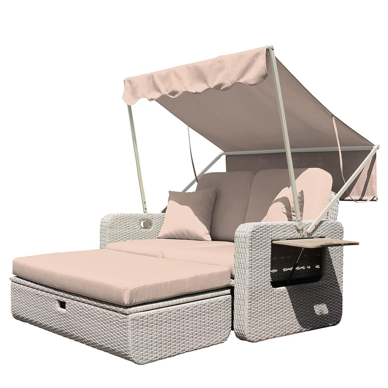 Canapé lounge Jobito - Tissu / Polyrotin - Beige chaud, Leco