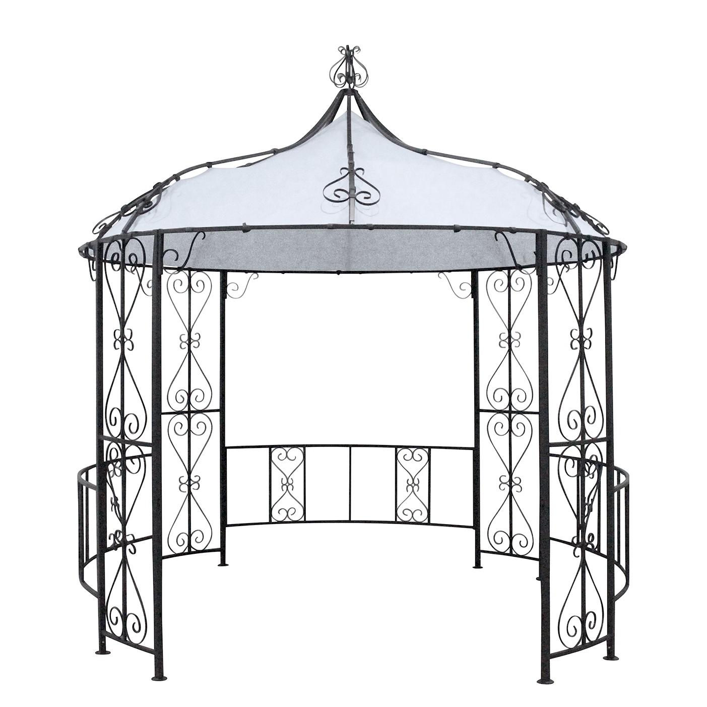 Paviljoentent Kasteeltuin Romantiek - geweven stof/staal - lichtgrijs/antracietkleurig, Leco