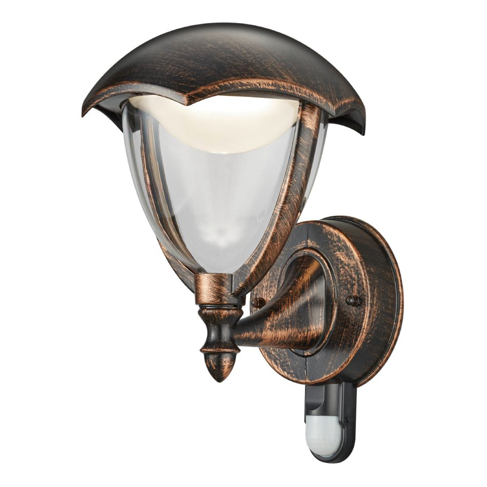 energie  A+, LED-wandlamp Gracht III - kunststof/aluminium - 1 lichtbron - Gemêleerd bruin, Trio