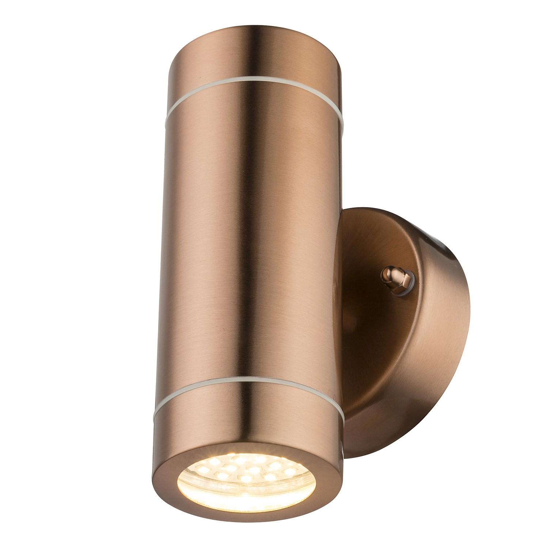 energie  A+, LED-buitenlamp Perry Shine II - roestvrij staal - 2 lichtbronnen - Koperkleurig, Globo Lighting