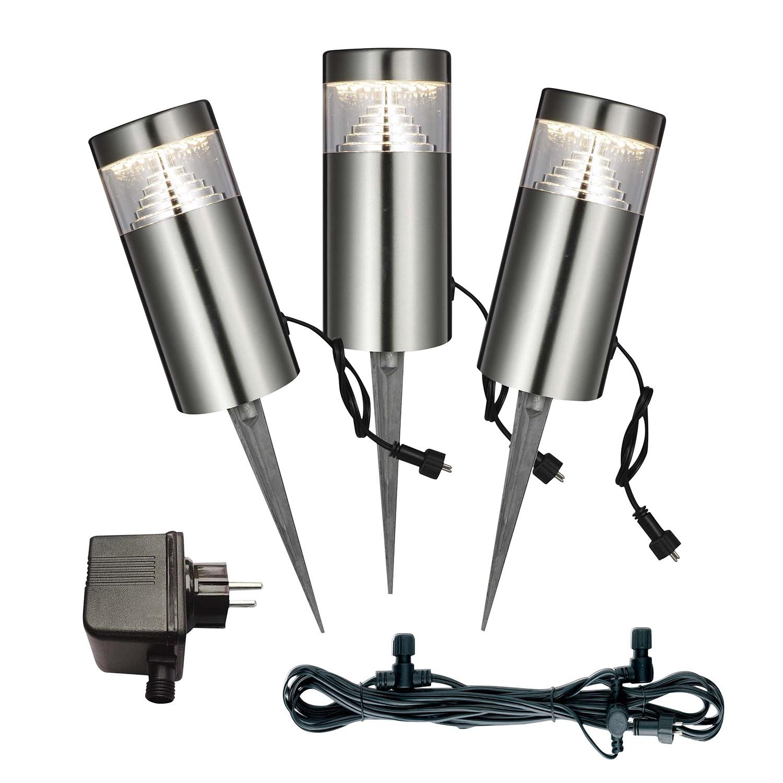energie  A+, LED-buitenlamp Poggy II - kunststof/roestvrij staal - 3 lichtbronnen, Globo Lighting