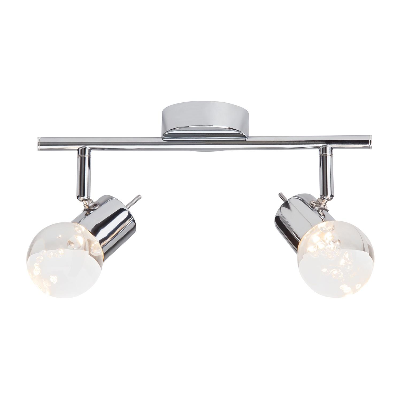 Image of energia A+, Lampada da soffitto LED Lastra - 2 luci - Color argento - Metallo cromato, Brilliant