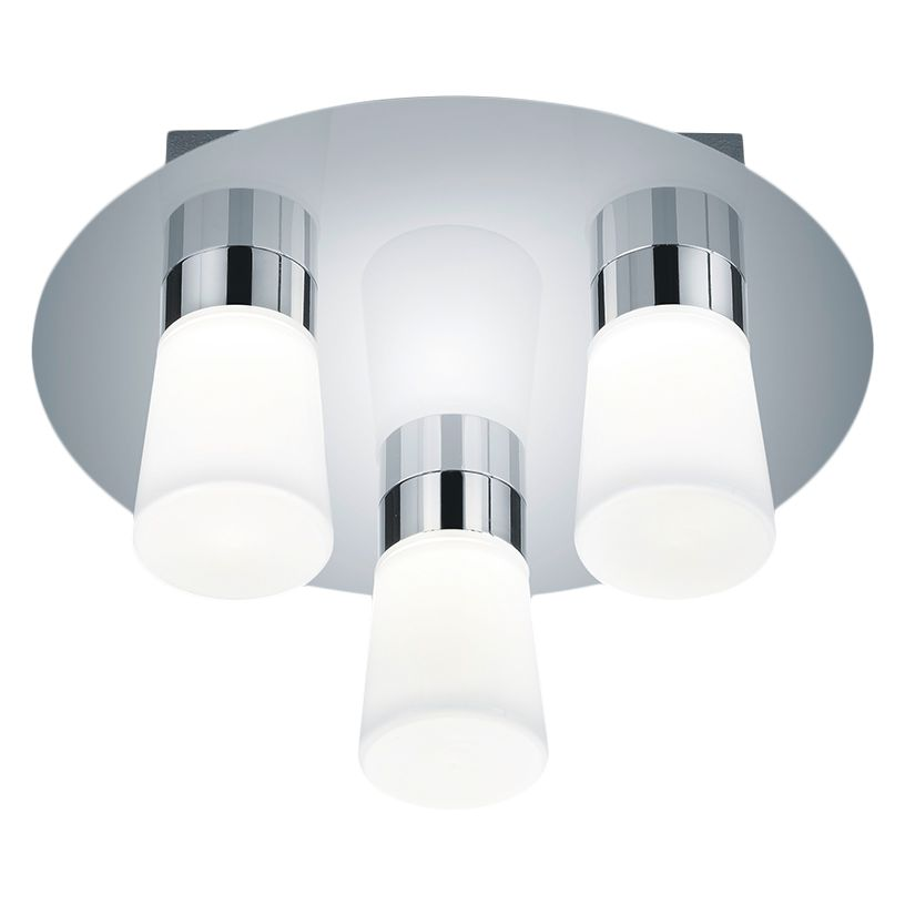 energie  A+, LED-plafondlamp Nevio - glas/metaal - 3 lichtbronnen, Trio