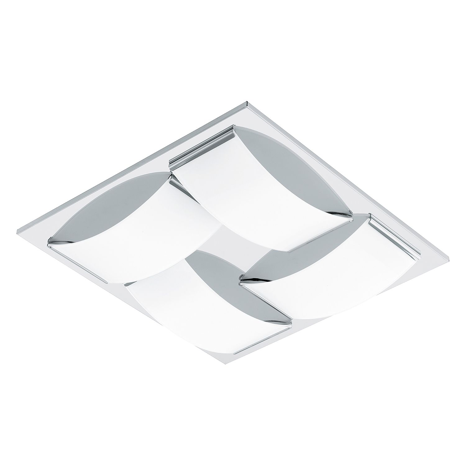 energie  A+, LED-plafondlamp Wasao - glas/roestvrij staal - 4 lichtbronnen, Eglo