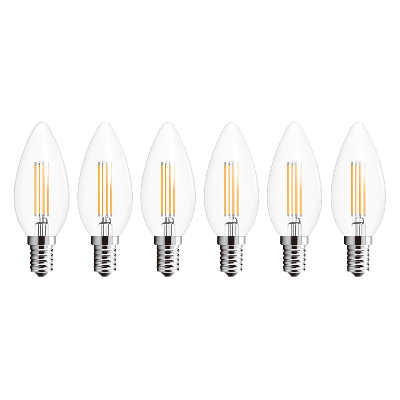 energie  A+, LED-lampen Clady (6-delige set) - glas/aluminium, Globo Lighting