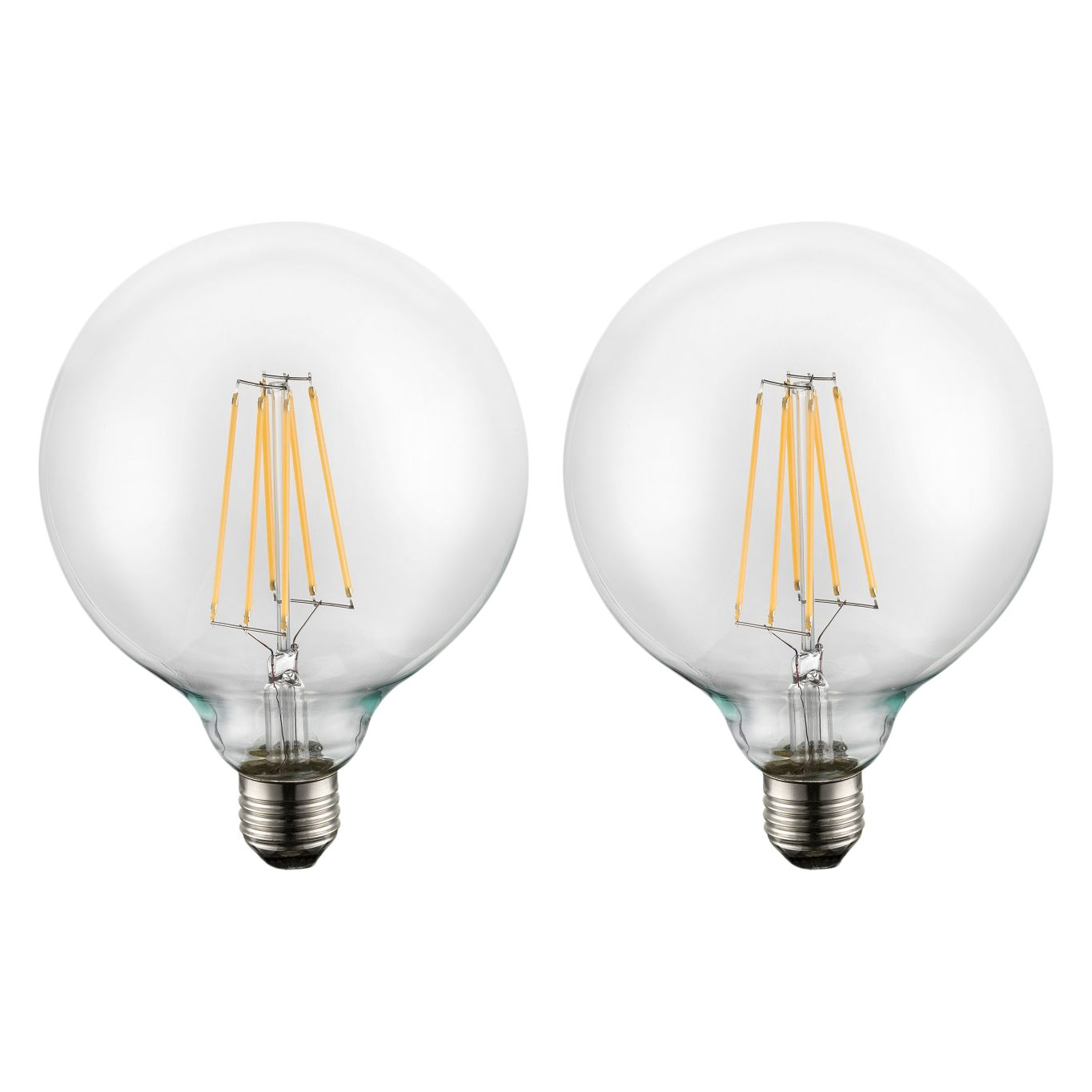 energie  A+, LED-lampen Claudy (2-delige set) - glas/aluminium, Globo Lighting