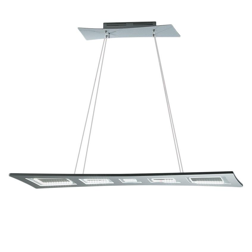 energie  A+, LED-hanglamp Eva - aluminium - zilverkleurig - 90 lichtbronnen, Lampadina