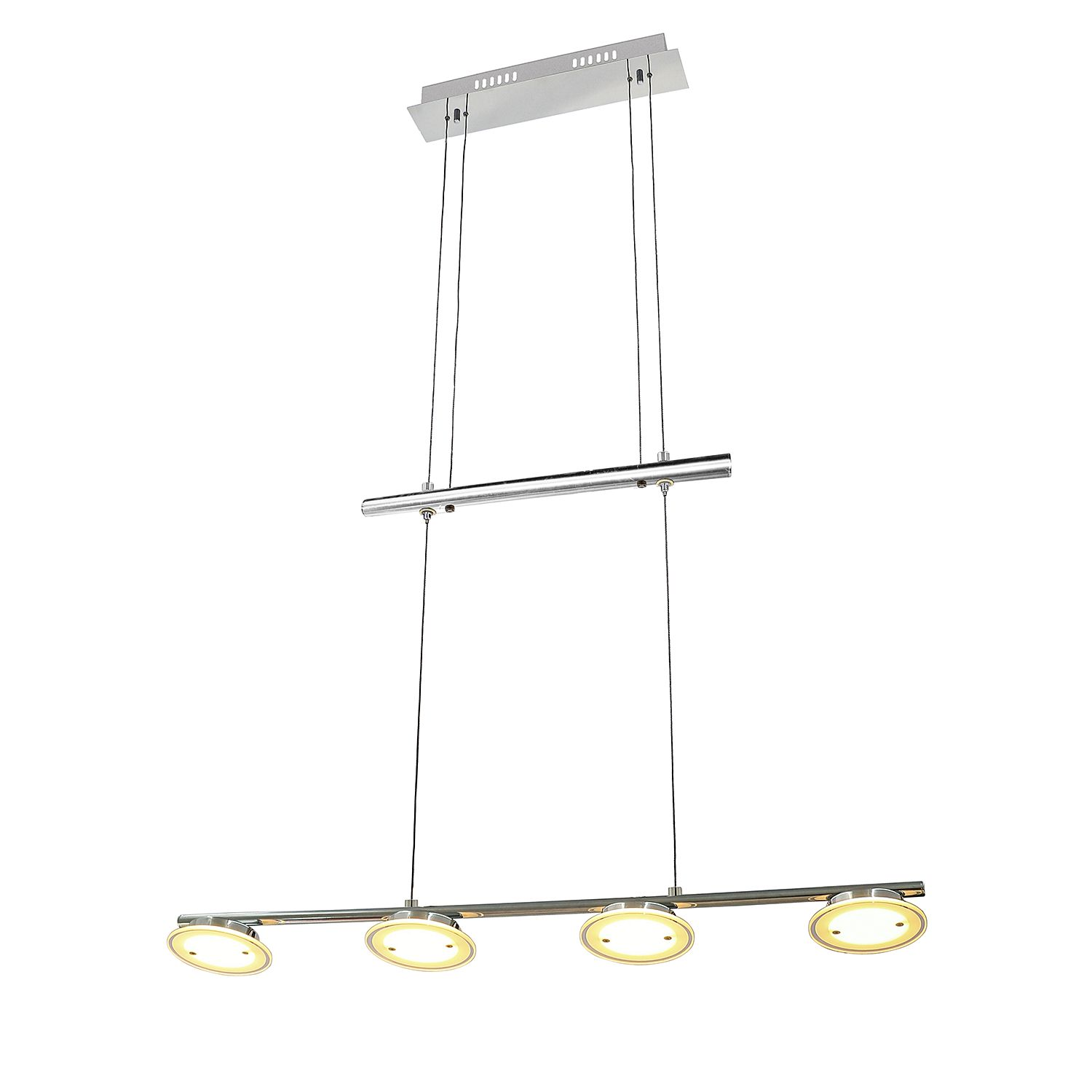 energie  A+, LED-hanglamp Dorena I - glas/metaal - 4 lichtbronnen, Brilliant