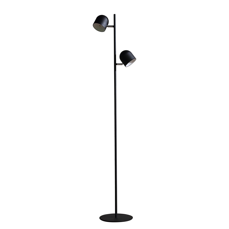 EEK A+, Lampadaire LED Jon - Fer - 2 ampoules - Noir, Loistaa