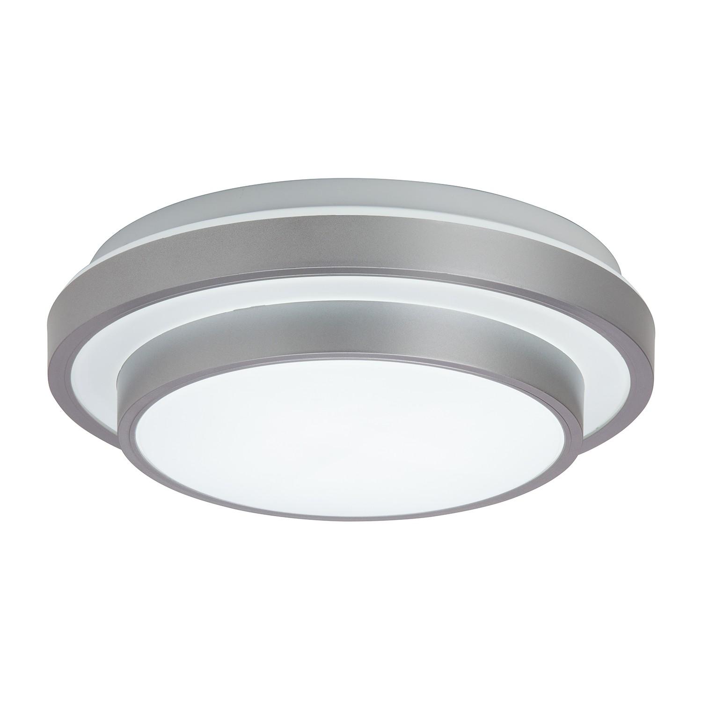 energie  A+, LED-wand-/plafondlamp Elana - kunststof zilverkleurig 1 lichtbron, Brilliant