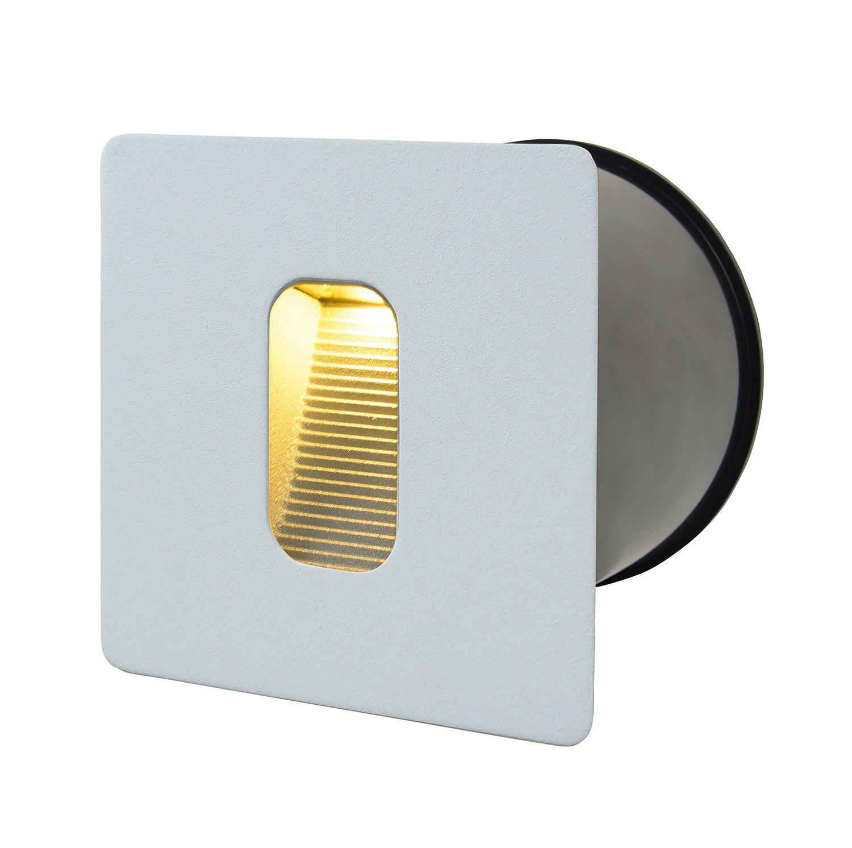 EEK A+, LED-Wandeinbaustrahler 1-flammig - Weiß Aluminium, Näve
