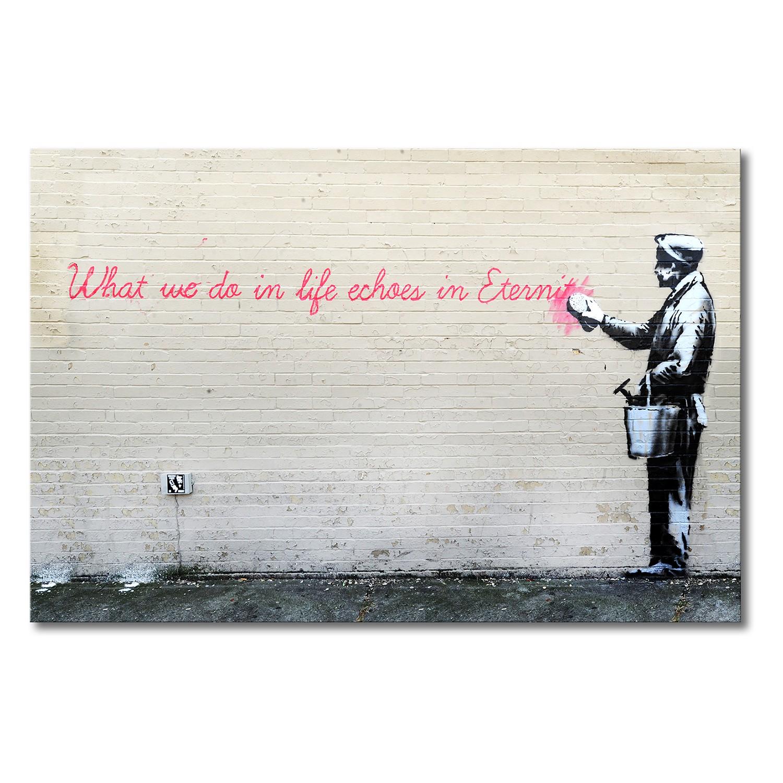 Foto op canvas Banksy No. 17 - canvas - beige/zwart, Wandbilder XXL