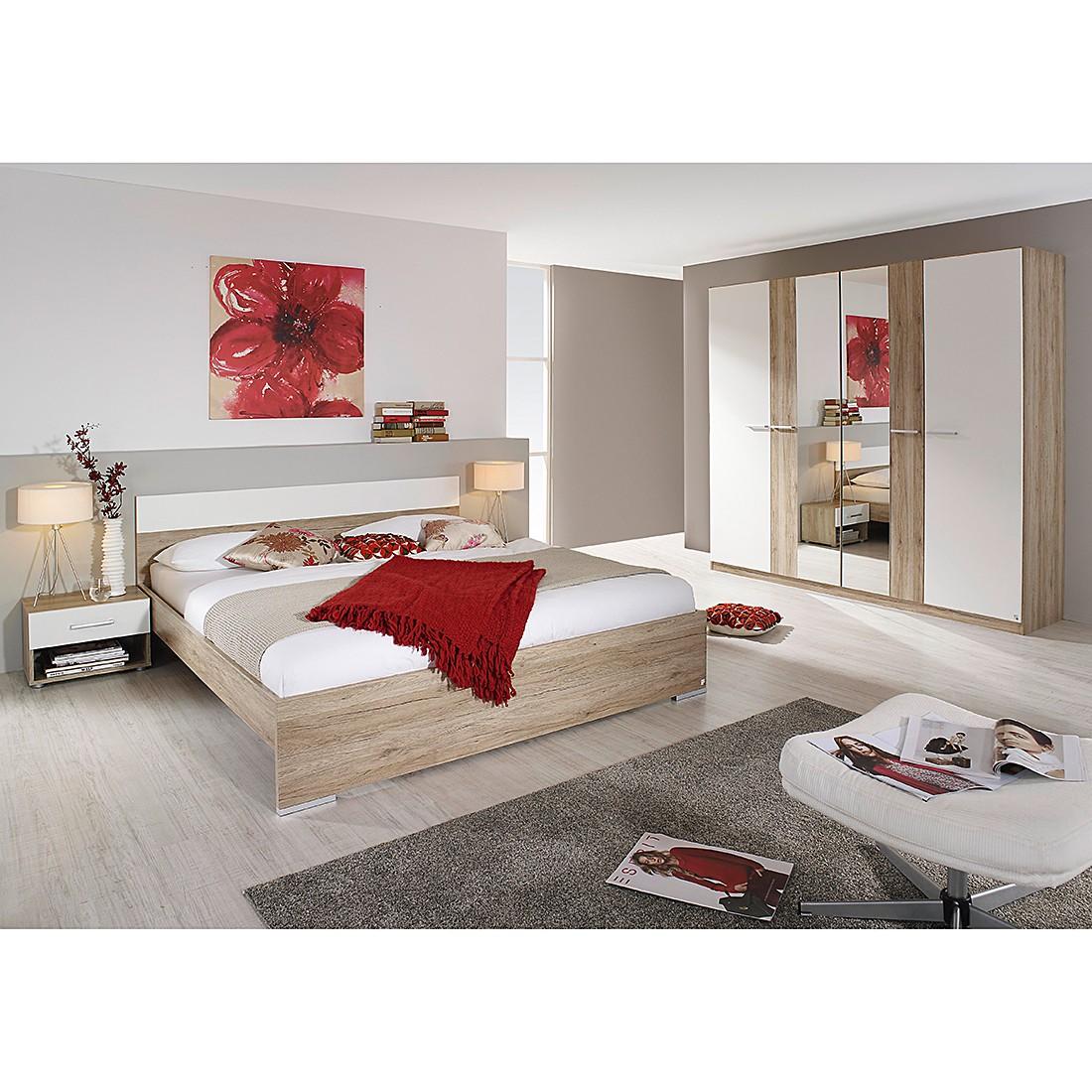 Ensemble pour chambre à coucher Badalona (4 éléments) - Imitation chêne / Blanc alpin - 160 cm x 200