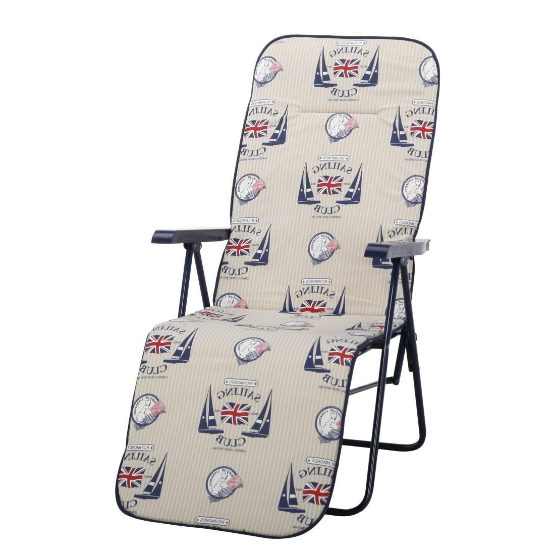 Home 24 - Chaise longue chiemsee (avec coussin rembourré) - tube en acier / textile - blanc / motif bleu - beige, best freizeitmöbel