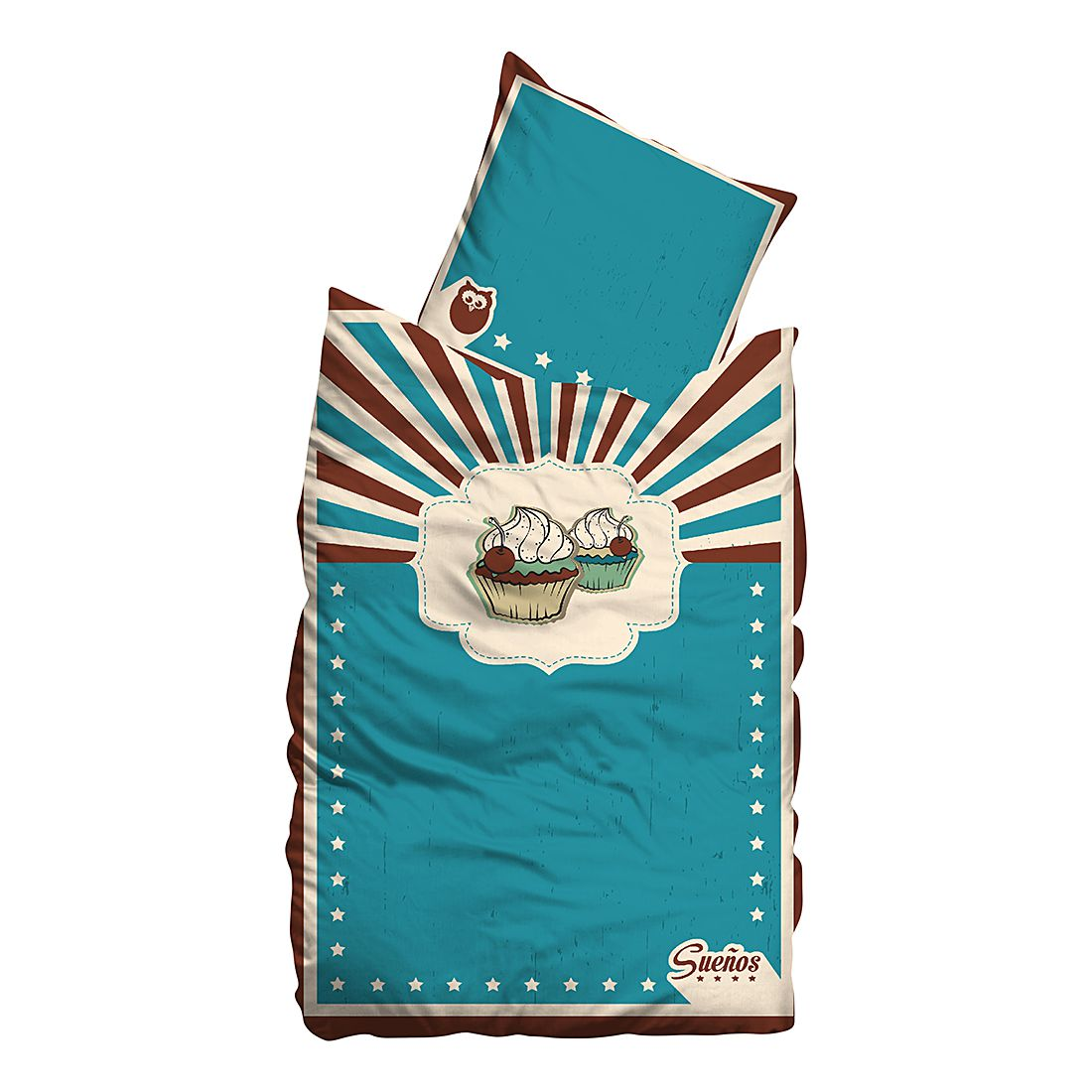 Home 24 - Draps de lit linon cupcakes - turquoise - 135 x 200 cm + coussin 80 x 80 cm, suenos