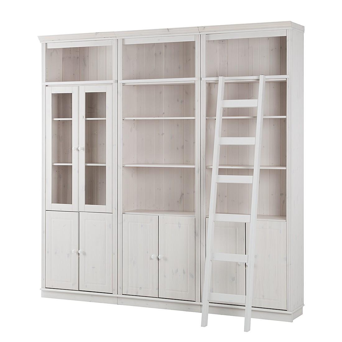 Home 24 - Ensemble de meubles tv lillehammer ii - pin massif verni blanc vernis, maison belfort