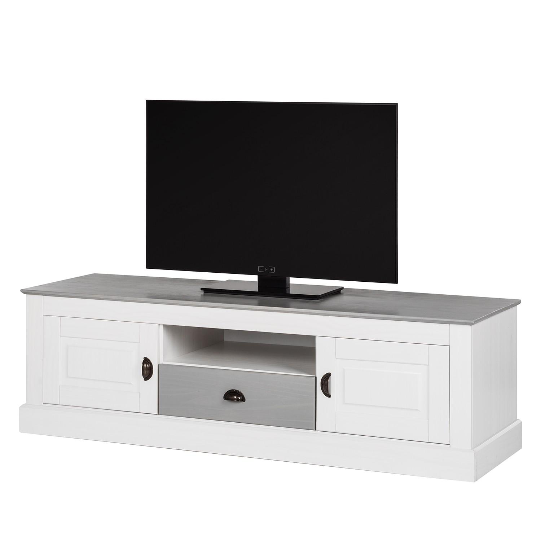 Meuble TV Neely - Pin massif - Blanc / Gris, Maison Belfort