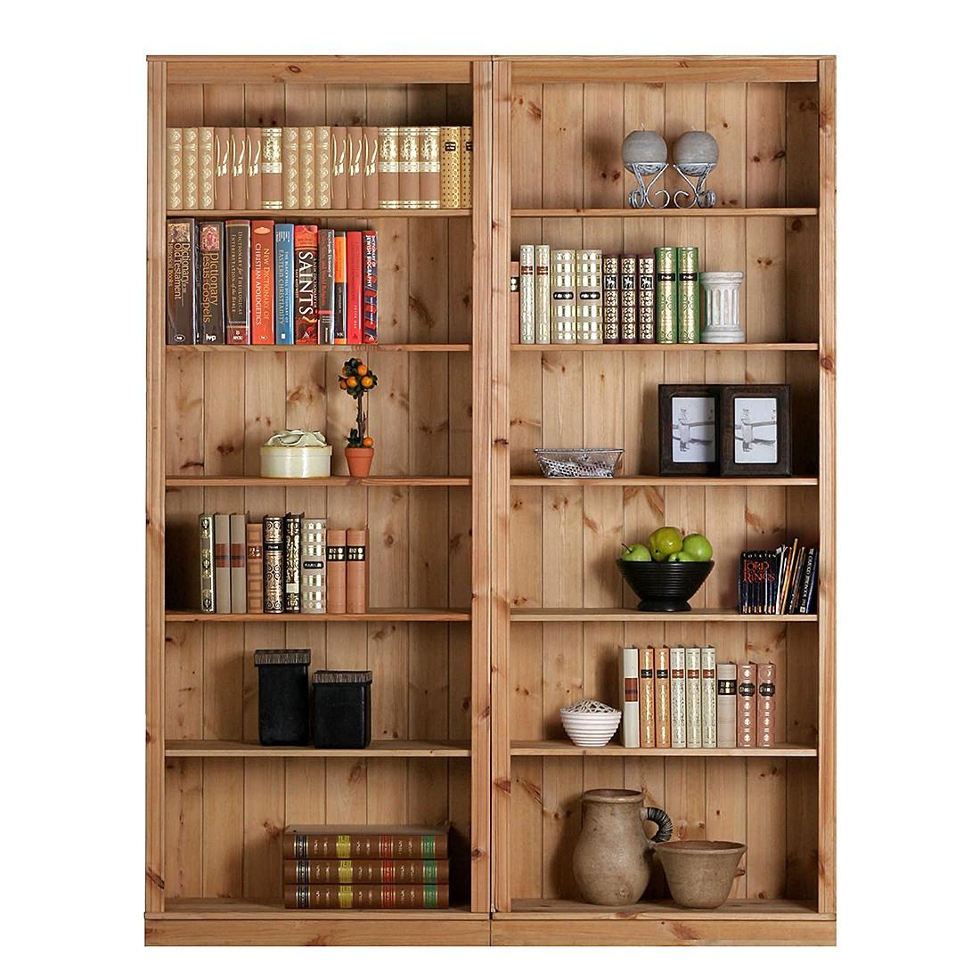 Bibliothèque Louis - Pin massif, teinté et huilé - Couleur bois - Ensemble de 2 éléments, Lars Larso