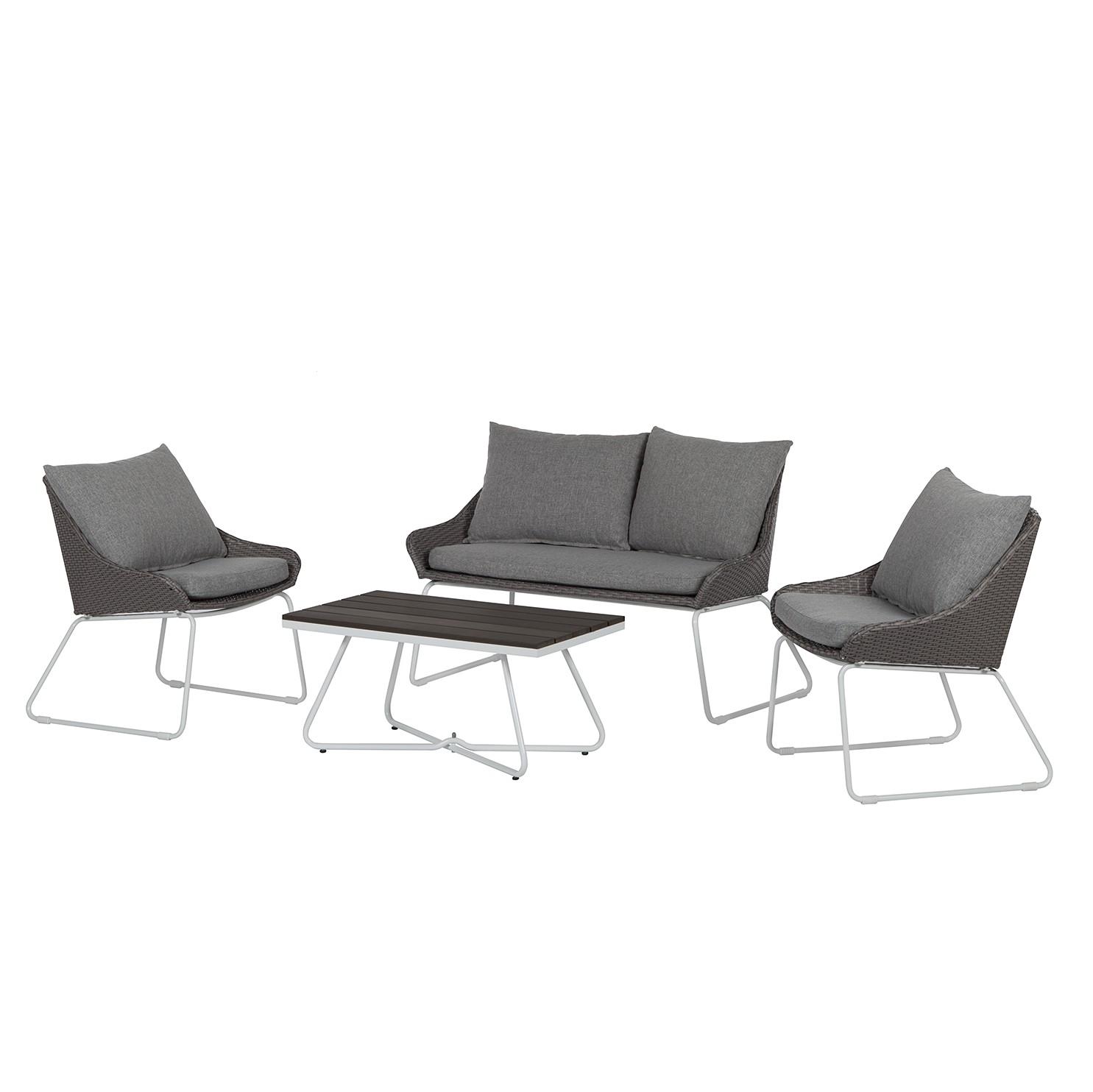 Lounge-Set Gran Rey (4-teilig) - Rattan / Stahl - Grau, Fredriks bei Home24 - Gartenmöbel