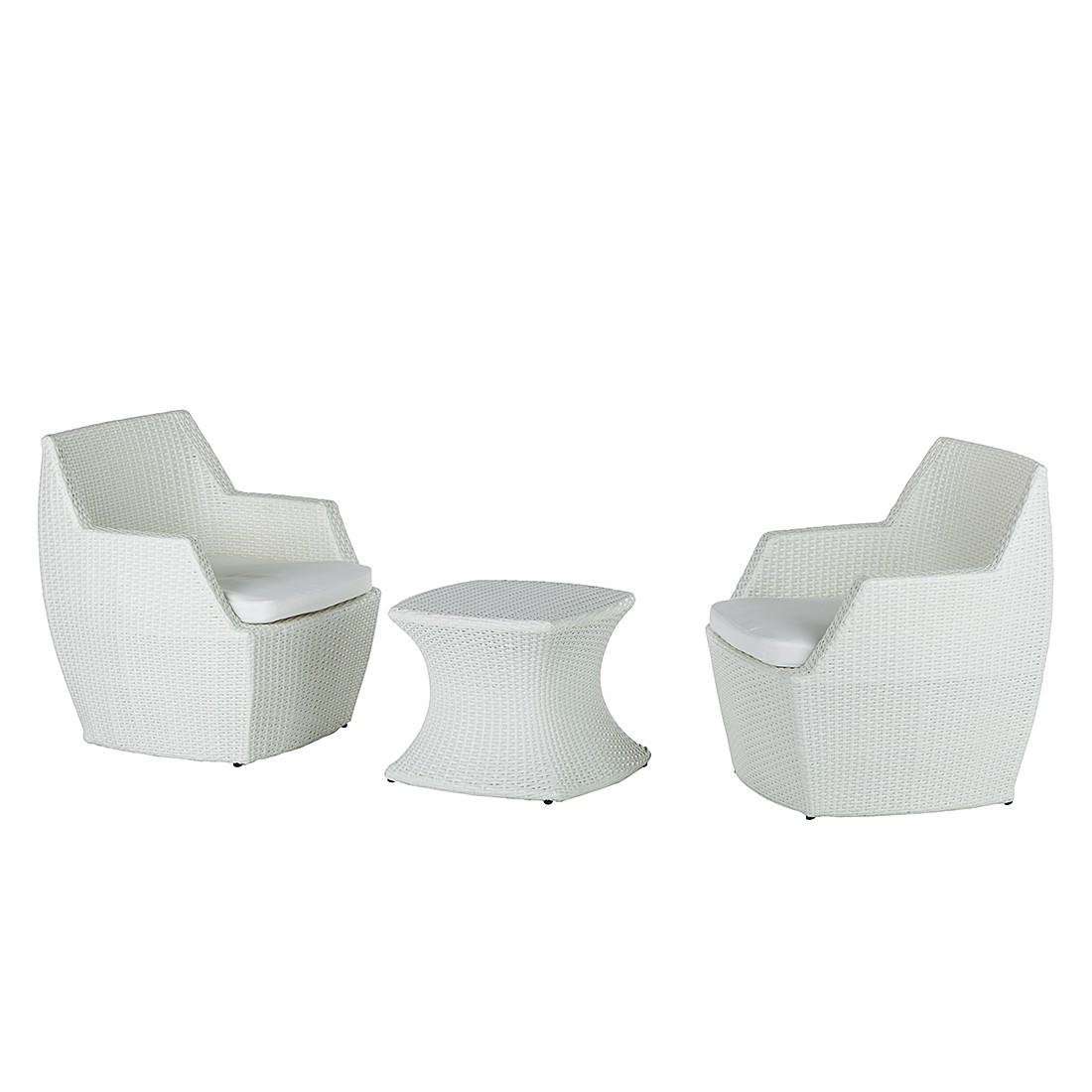 Sitzgruppe White Cloud (3-teilig) - Polyrattan/Stoff - Weiß, Kings Garden