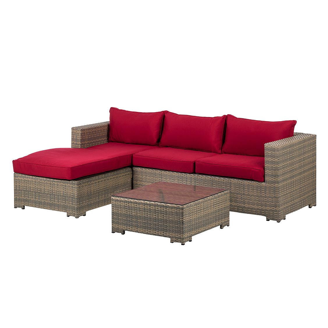 Home 24 - Canapé lounge paradise lounge (2 éléments) - polyrotin anthracite / rouge, fredriks