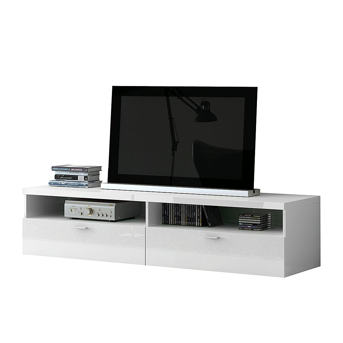 Meuble TV Emporior - Blanc - Blanc brillant, Fredriks