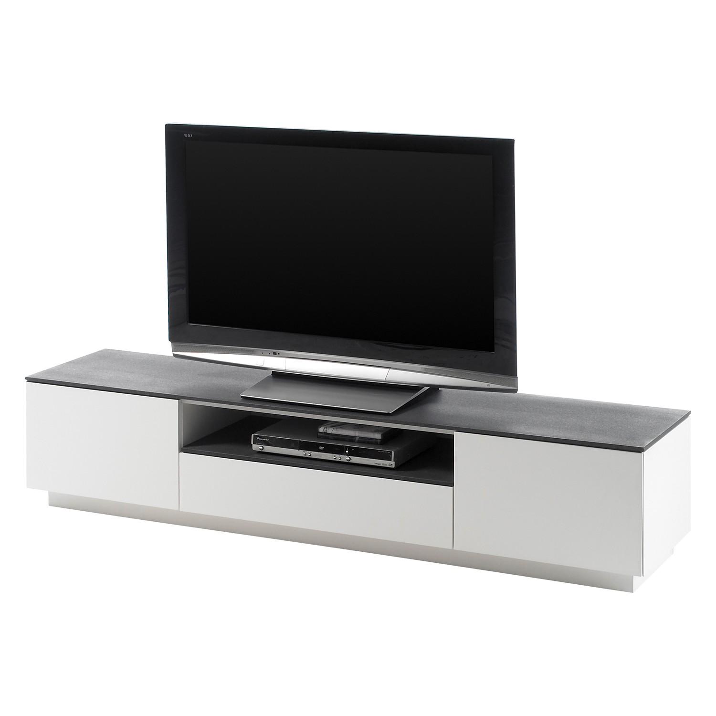 Meuble TV Milton I - Mat Blanc / Gris minéral, Fredriks