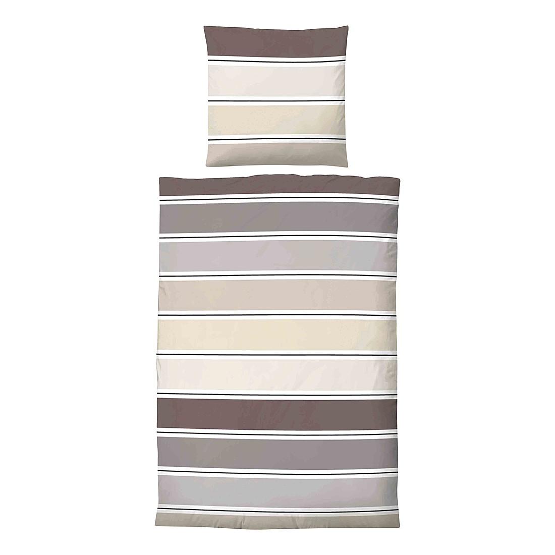 Home 24 - Parure de lit en satin maco jana - marron - 135 x 200 cm + coussin 80 x 80 cm, biberna