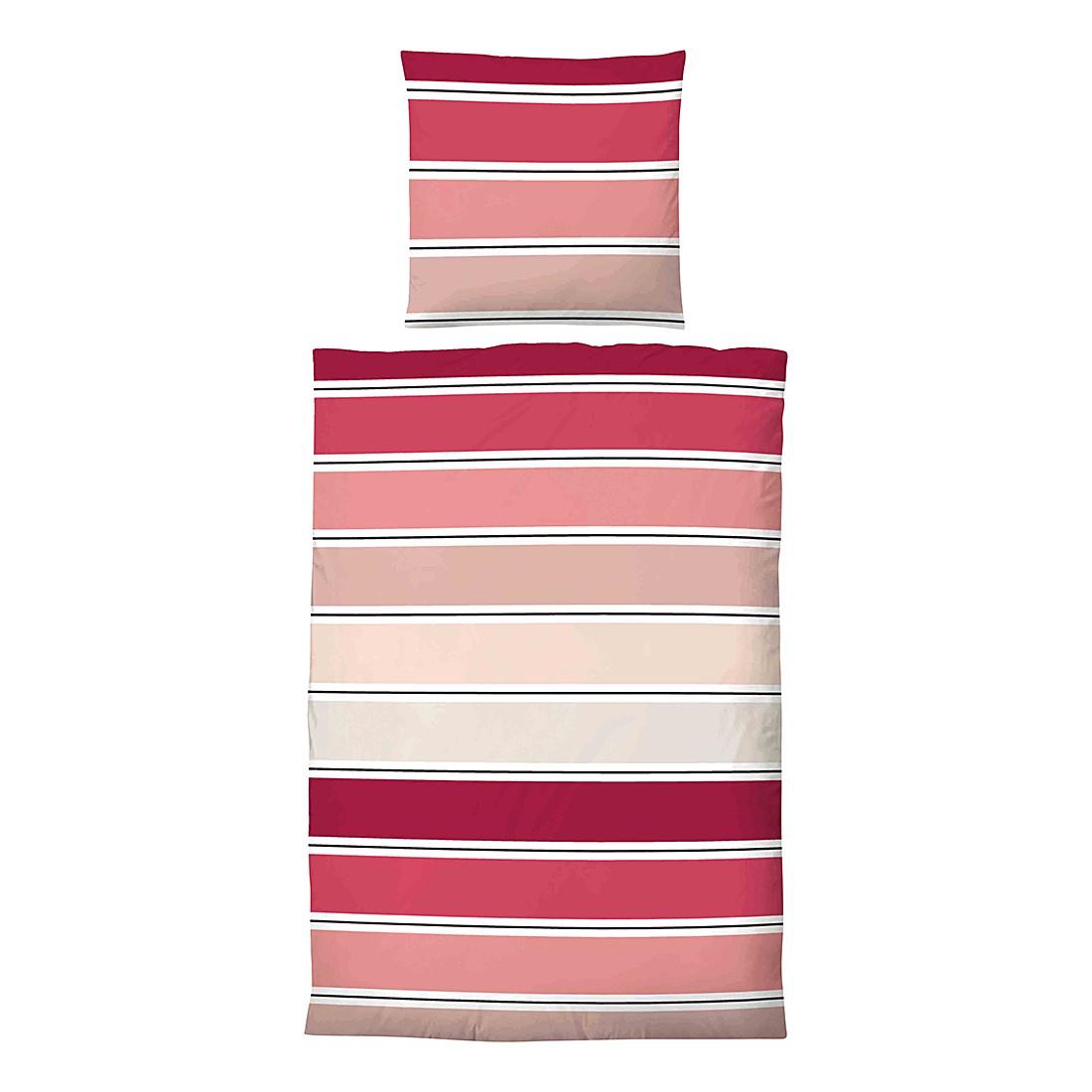 Home 24 - Parure de lit en satin maco jana - rouge rubis - 135 x 200 cm + coussin 80 x 80 cm, biberna