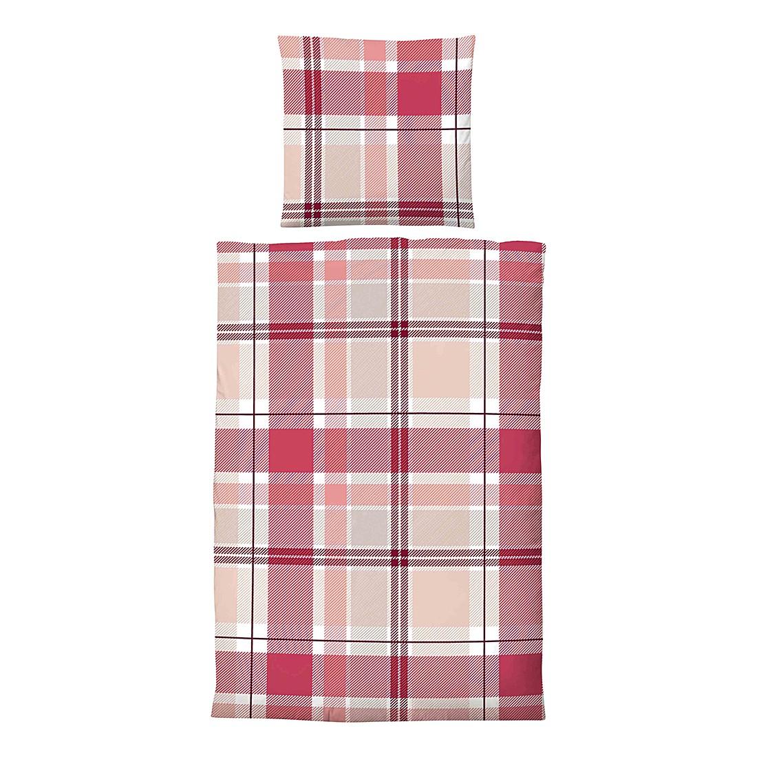 Home 24 - Parure de lit en satin maco jana - rouge rubis - 200 x 200 cm + 2 coussins 80 x 80 cm, biberna