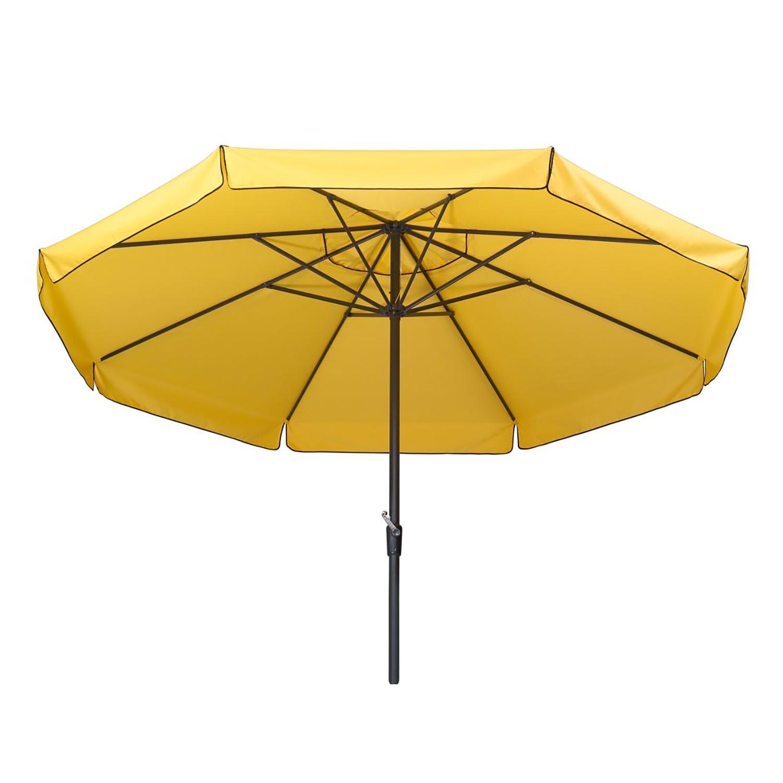 Home 24 - Parasol carré amalfi - aluminium / polyester - anthracite / jaune 300cm, schneider schirme