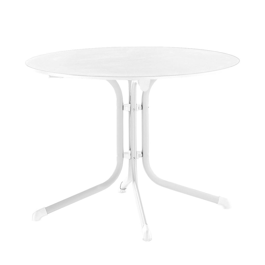 Klapptisch Luling - Weiß/Marmorweiß - 100 x 73 x 100 cm, Sieger