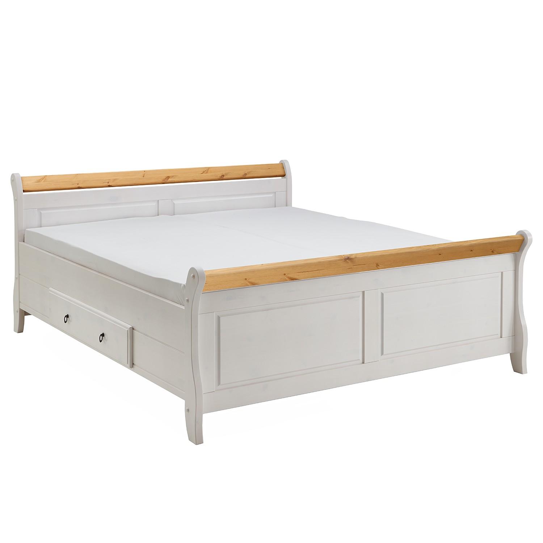 Lit en bois massif Cenan - 140 x 200cm - Epicéa blanc teinté et verni / Coloris lessivé, Maison Belf