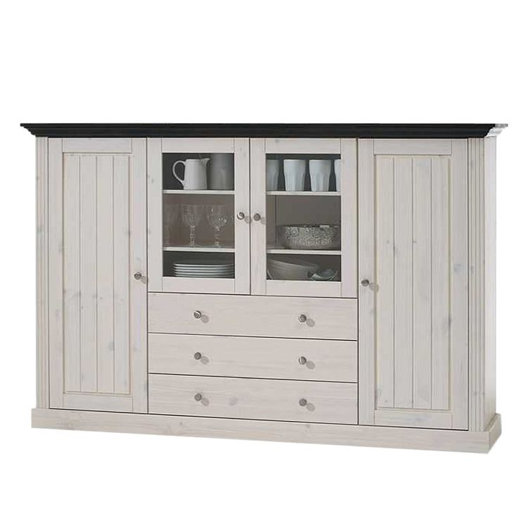 Home 24 - Buffet haut lyngby - pin massif - blanc / imitation wengé, maison belfort