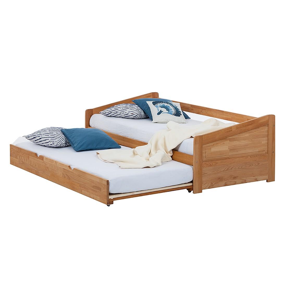 Lit multi-rangements en bois massif DemiWOOD (avec surface de couchage supplémentaire) - Duramen hêt