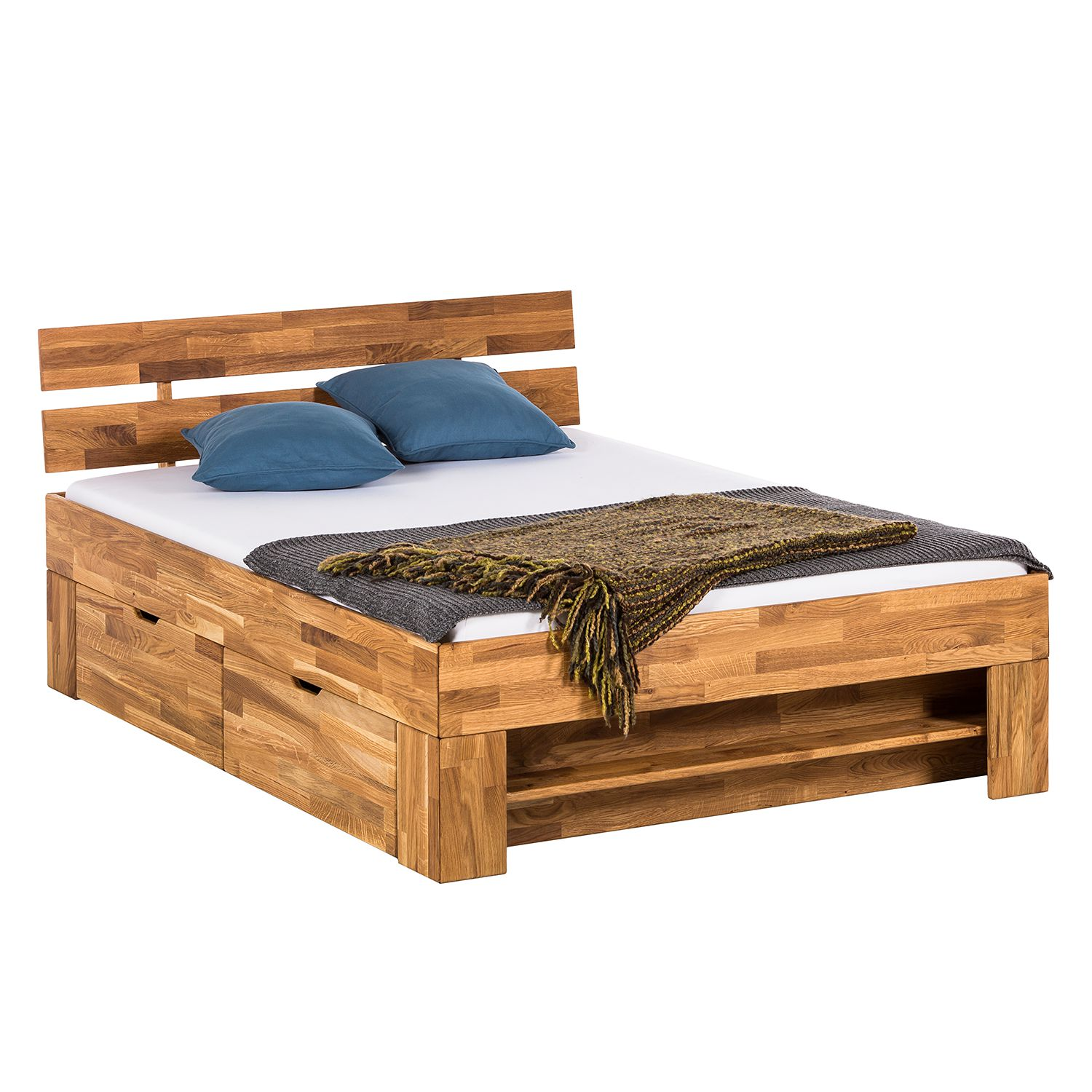 lit en bois massif eoswood avec tiroirs ch ne massif 140 x 200cm ch ne ars natura par. Black Bedroom Furniture Sets. Home Design Ideas