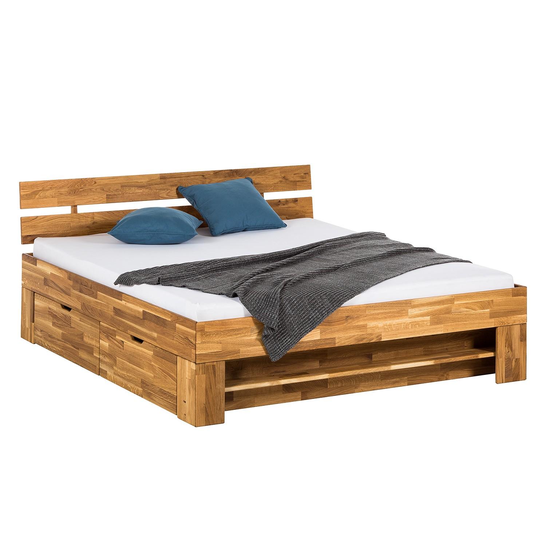 Massivholzbett EosWOOD (inkl. Bettkästen) - Eiche massiv - 180 x 200cm - Eiche, Ars Natura