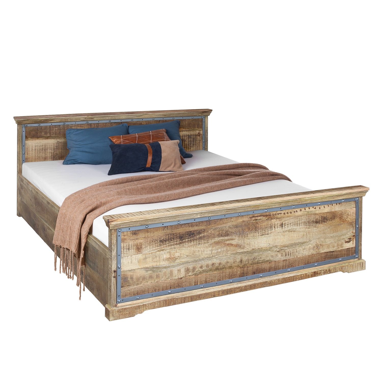 Lit en bois massif Hunter - Manguier massif - Manguier / Gris bleu - 180 x 200cm, ars manufacti