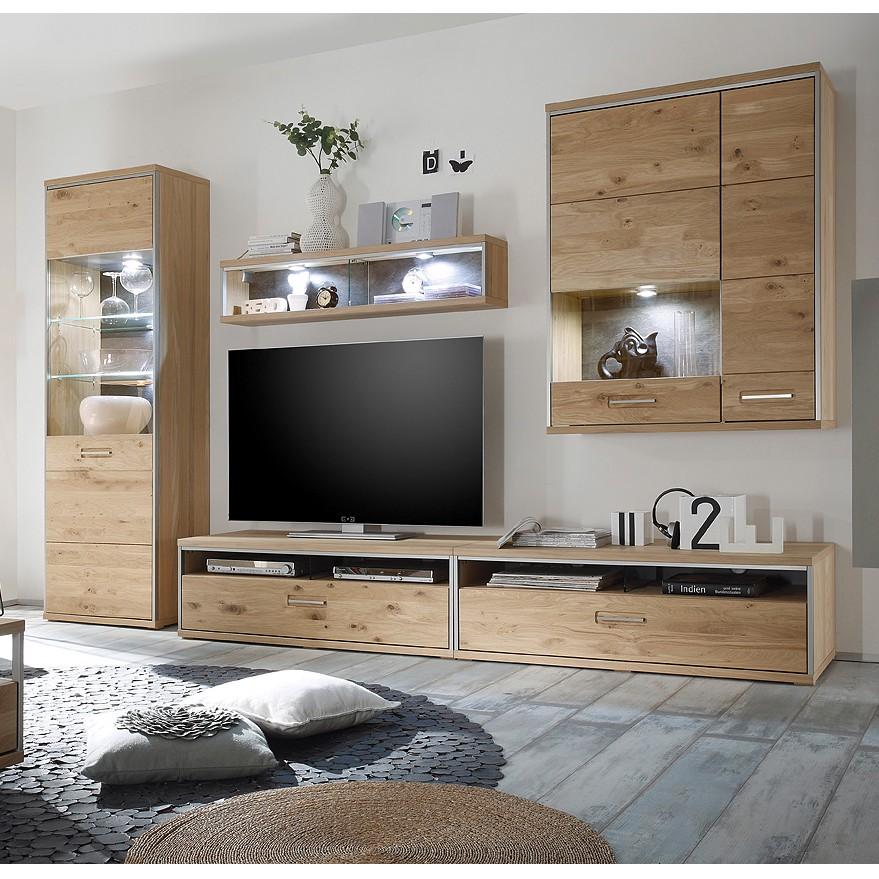 Mur TV Lopburi (5 éléments) - Imitation chêne Bianco partiellement massif / Ardoise, Ars Natura