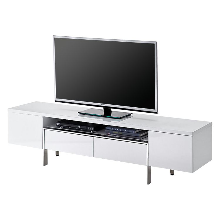 Meuble TV Lazarus - Blanc brillant, loftscape