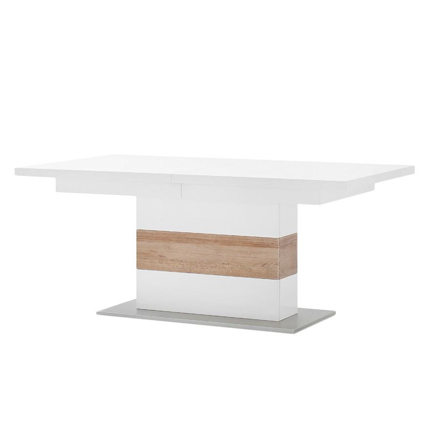 Table à manger Ledigos (avec rallonge) - Blanc / Imitation chêne Riviera, mooved
