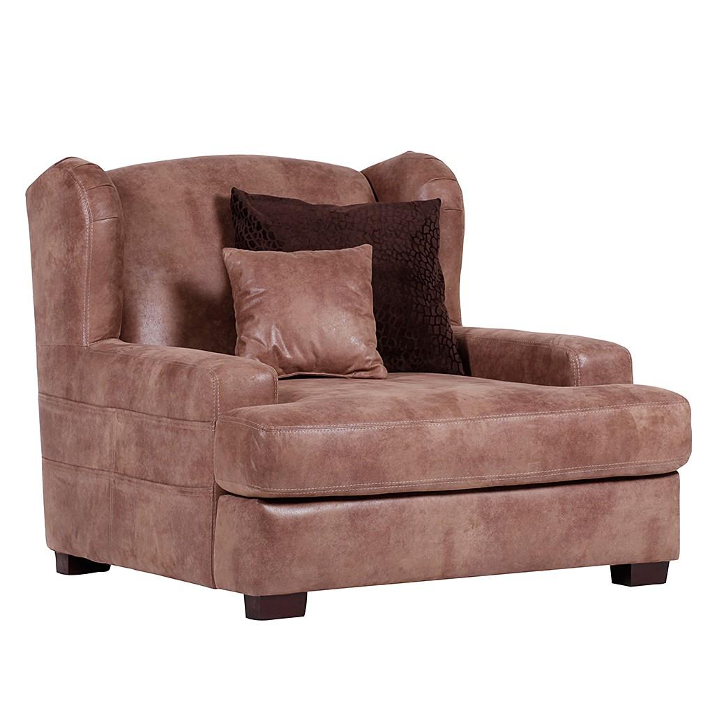 Grand fauteuil à oreilles Dream - Microfibre marron, Red Living